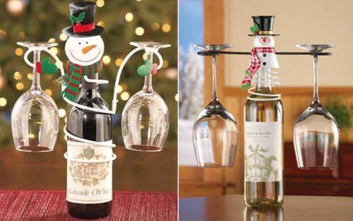 Holiday Snowman Wine Bottle & Glass Holder